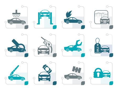 overhaul: Stylized car and automobile service icon - vector icon set Illustration