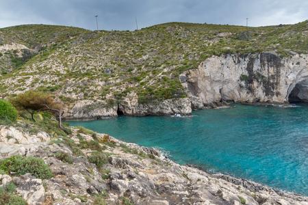 ionian: Panorama of Limnionas beach bay at Zakynthos island, Greece Stock Photo