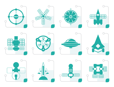 astronautics: Stylized different kinds of future spacecraft icons - vector icon set Illustration