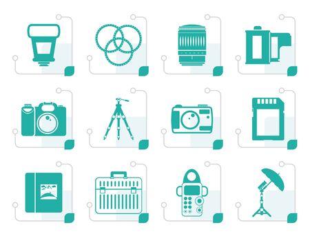 polarize: Stylized Photography equipment icons - vector icon set