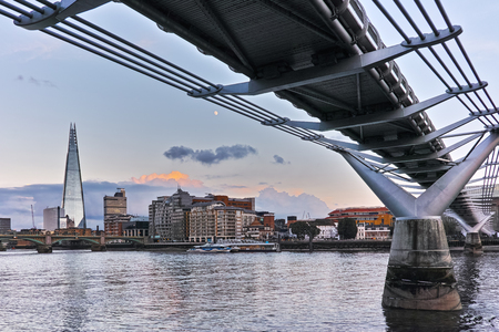 Sunset panorama of city of London and Thames river, England, Great Britain Editorial