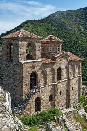 Panorama of Church of the Holy Mother of God in Asens Fortress and Rhodopes mountain, Asenovgrad, Plovdiv Region, Bulgaria