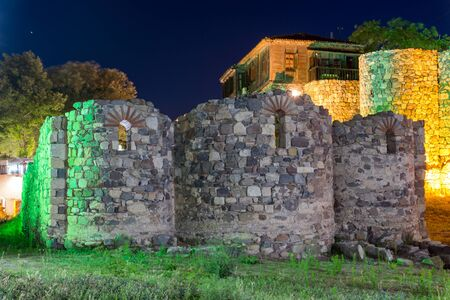 reconstructed: Night photo of reconstructed gate part of Sozopol ancient fortifications, Bulgaria Stock Photo