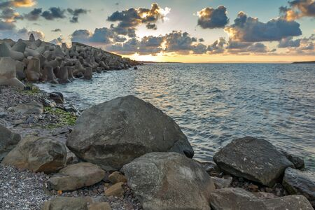 archeologist: Sunset picture of breakwater of Sozopol Town, Burgas Region, Bulgaria