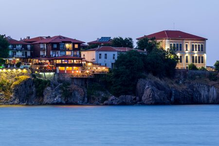 george: Night photo of old town and beach of of Sozopol town, Burgas Region, Bulgaria