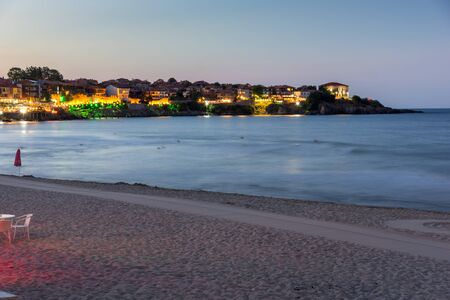 archeologist: Night photo of old town and beach of of Sozopol town, Burgas Region, Bulgaria