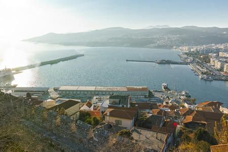 Ruins of fortress and panorama to Kavala, East Macedonia and Thrace, Greece