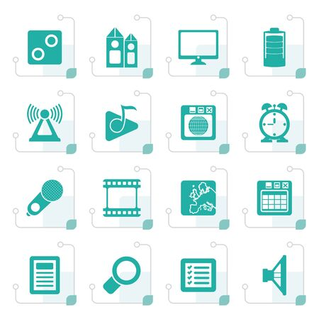 polyphony: Stylized Mobile phone performance, internet and office icons - vector icon set