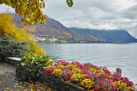 montreux: Autumn view of embankment of Montereux, canton of Vaud, Switzerland Stock Photo