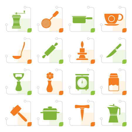 bailer: Stylized Kitchen and household tools icons - vector icon set Illustration