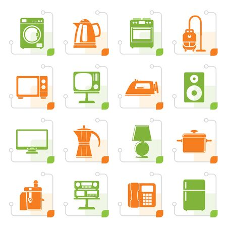 home equipment: Stylized home equipment icon set.
