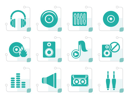 Gestileerde Muziek en geluids iconen - Vector Icon Set