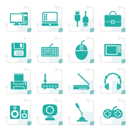 computer equipment: Stylized Computer equipment and periphery icons - vector icon set