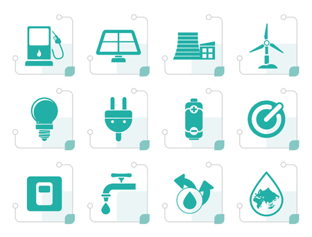 force of the wind: Stylized Ecology, power and energy icons - vector icon set
