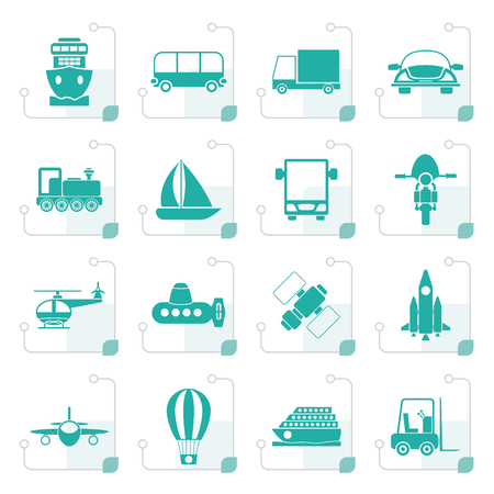 sailer: Stylized Transportation, travel and shipment icons - vector icon set Illustration