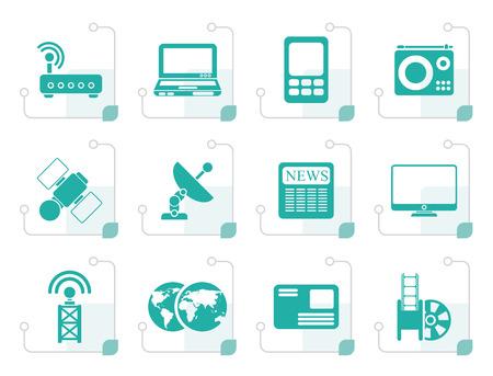 communications technology: Stylized Business, technology  communications icons - vector icon set