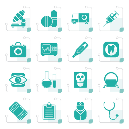 Stylized medical, hospital and health care icons - vector icon set