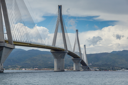 Amazing view of The cable bridge between Rio and Antirrio, Patra, Western Greece Stock Photo