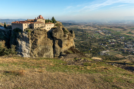 stephen: Amazing Sunset view of  Holy Monastery of St. Stephen in Meteora, Thessaly,