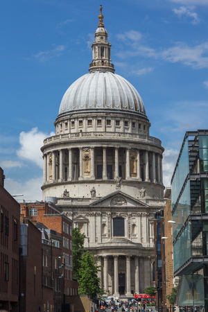 LONDON, ENGLAND - JUNE 15 2016: Amazing view of St. Paul Cathedral in London, England, Great Britain