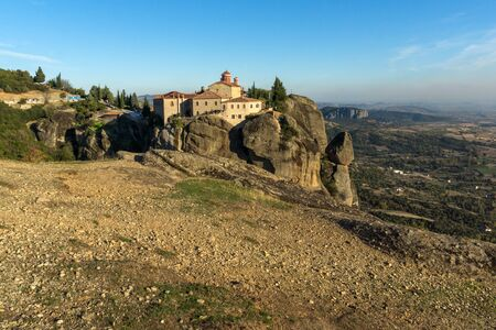 stephen: Amazing Sunset Panorama of  Holy Monastery of St. Stephen in Meteora, Thessaly, Greece