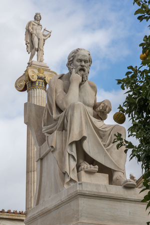 Socrates and Apollo statues in front of Academy of Athens, Attica, Greece