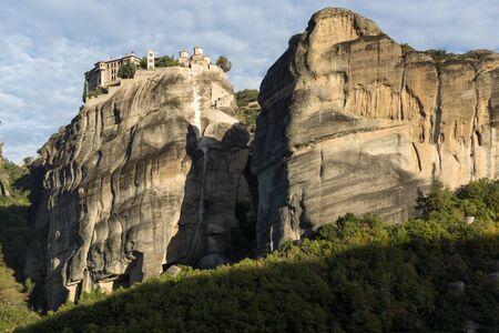 Amazing Panorama of Holy Monastery of Varlaam in Meteora, Thessaly, Greece Stock Photo