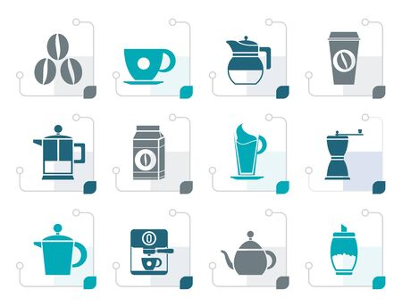 Stylized coffee industry signs and icons - vector icon set