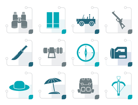 Stylized safari, hunting and holiday icons - vector icon set