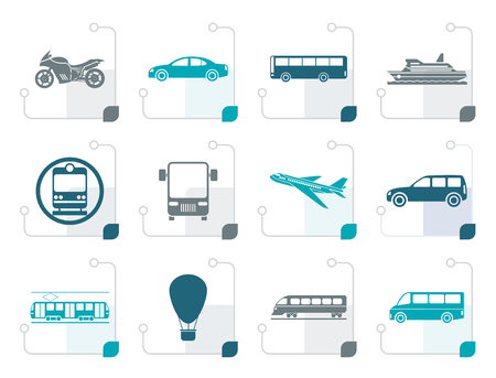 tramcar: Stylized Travel and transportation of people icons - vector icon set Illustration