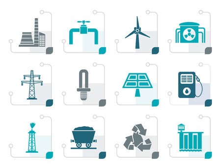 oil and gas industry: Stylized Power and electricity industry icons - vector icon set
