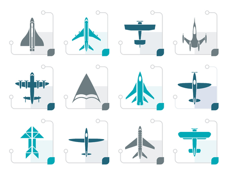 deltaplane: Stylized different types of plane icons - vector icon set