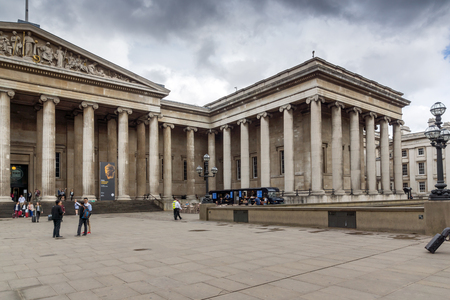 oxford street: LONDON, ENGLAND - JUNE 16 2016: Outside view of British Museum, City of London, England, Great Britain