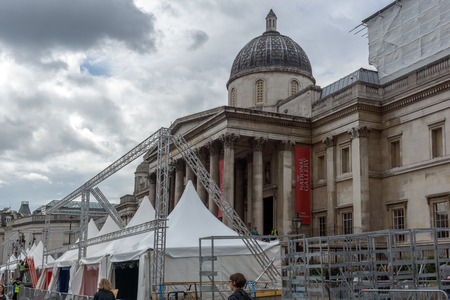 trafalgar: LONDON, ENGLAND - JUNE 16 2016: The National Gallery on Trafalgar Square, London, England, United Kingdom