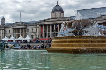 iv: LONDON, ENGLAND - JUNE 16 2016: Trafalgar Square, City of London, England, Great Britain Editorial