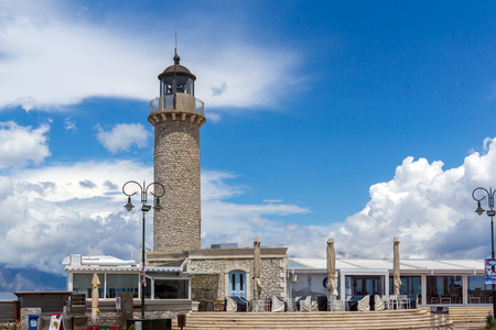 PATRAS, GREECE MAY 28, 2015: Amazing view of Lighthouse in Patras, Peloponnese, Western Greece