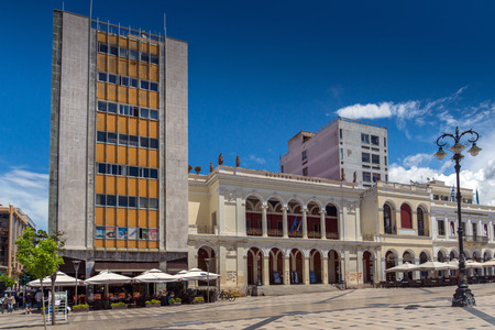 george: PATRAS, GREECE MAY 28, 2015: Panoramic view of King George I Square in Patras, Peloponnese, Western Greece