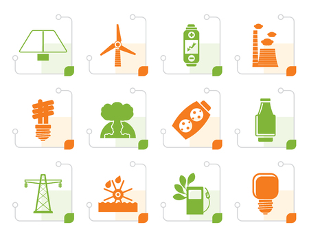 atomic bomb: Stylized Power, energy and electricity icons - vector icon set