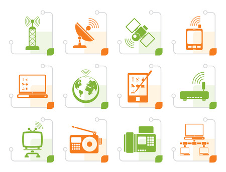 Stylized communication and technology icons - vector icon set