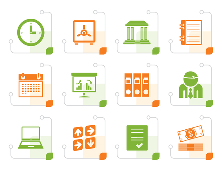 finance icons: Stylized Business, finance and office icons - vector icon set