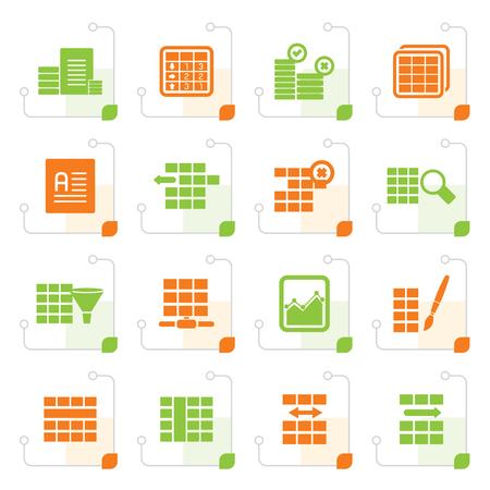 formatting: Stylized Database and Table Formatting Icons - Vector Icon Set Illustration