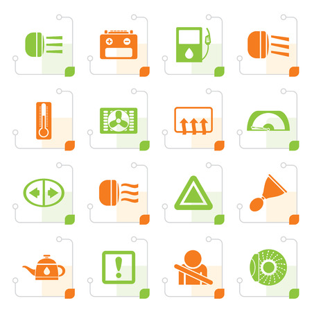 Stylized Car Dashboard - realistic vector icons set