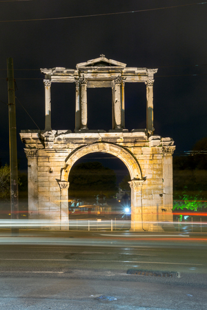 colonnade: Nigh photo of Arch of Hadrian in Athens, Attica, Greece