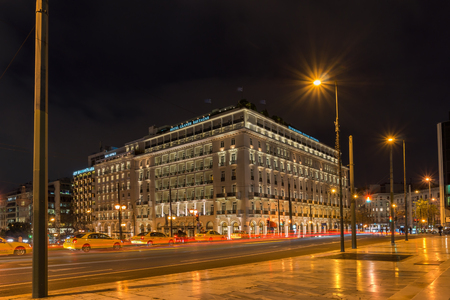 Night photo of Syntagma Square in Athens, Attica, Greece Editorial