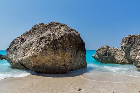 ionian: Amazing landscape of blue waters of Megali Petra Beach, Lefkada, Ionian Islands, Greece Stock Photo