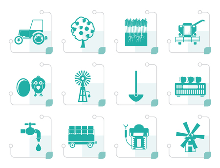 Stylized farming industry and farming tools icons - vector icon set Illustration