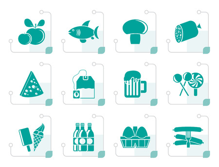 ice tea: Stylized food, drink and shop icons - vector icon set Illustration