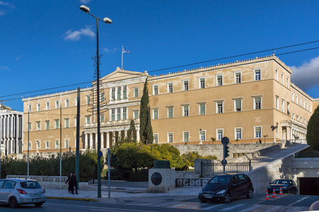 ATHENS, GREECE - JANUARY 19 2017: The Greek parliament in Athens, Attica, Greece Editorial