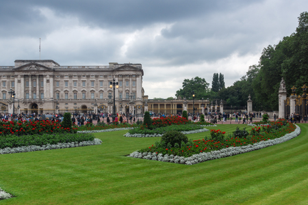 angels fountain: LONDON, ENGLAND - JUNE 17 2016: Panorama of Buckingham Palace London, England, Great Britain