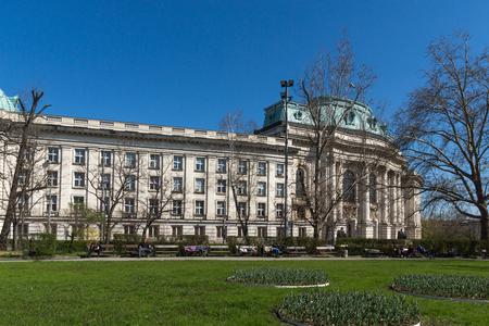 SOFIA, BULGARIA - APRIL 1, 2017: Amazing view of University of Sofia St. Kliment Ohridski, Bulgaria Editorial